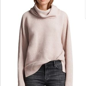 All Saints Mesa cowl neck sweater whisper pink